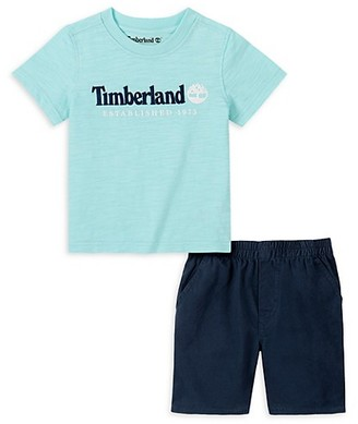 Timberland Little Boy's 2-Piece Logo T-Shirt Cotton Twill Shorts Set