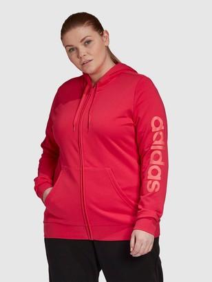 adidas Essentials Linear Full Zip Hoodie (Curve) - Pink