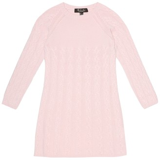 Loro Piana Kids Downy Cables cashmere sweater dress