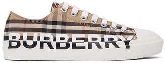 Burberry Beige Check Logo Larkhall Sneakers
