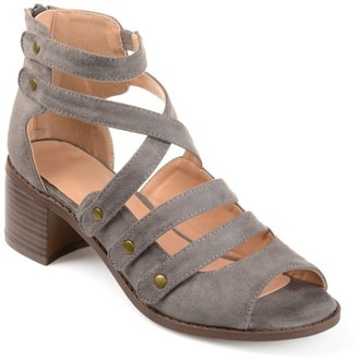 Brinley Co. Womens Faux Suede Open-toe Multi-strap Heeled Sandals