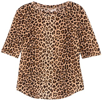 Rebecca Taylor Leopard Print Short Sleeve Linen Top