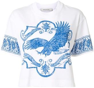 Cédric Charlier eagle-print cropped T-shirt