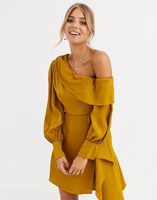 Forever New one shoulder satin mini dress in ochre-Gold