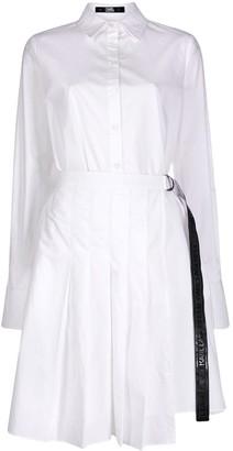 Karl Lagerfeld Paris poplin shirt dress with pleats