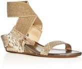 Donald J Pliner Eeva Metallic Snake-Embossed Ankle Strap Wedge Sandals