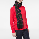 Paul Smith Women's Black Embroidered Paisley Lambswool-Cashmere Scarf