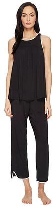 Kate Spade Black Cropped PJ Set (Black) Women's Pajama Sets