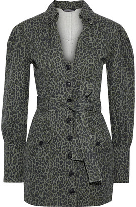 Marissa Webb Mera Belted Leopard-print Cotton-canvas Mini Dress