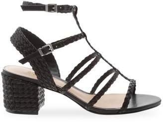 Schutz Rosalia Leather Ankle Strap Sandals