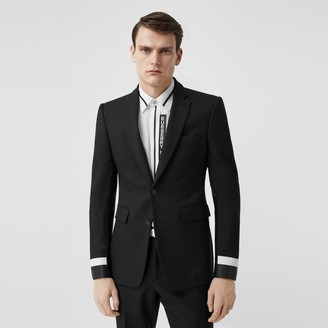Burberry Classic Fit Lambskin Detail Wool Tailored Jacket