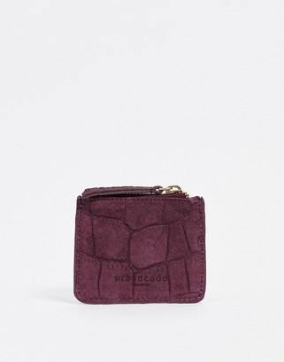 Urban Code Urbancode embossed leather zip-top card holder in dark berry