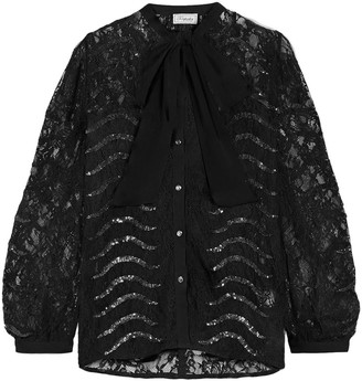 Temperley London Panther Pussy-bow Sequin-embellished Leavers Lace Blouse