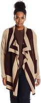 NY Collection Women's Plus-Size Long Sleeve Open Front Intarsia Cardigan