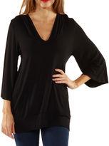 24/7 Comfort Apparel 3/4 Sleeve Slip-On Knit Hoodie
