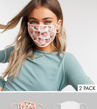 Skinnydip 2 pack face covering with adjustable straps in plain white and peachy print