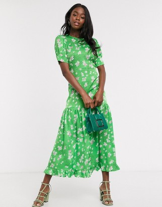 NEVER FULLY DRESSED short sleeve tiered ruffle hem maxi dress in green floral