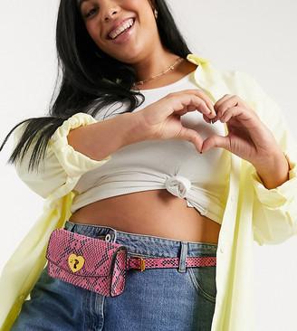 ASOS DESIGN Curve multiway bum bag in pink snake with heart twistlock