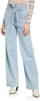 Frame Ali Triple-Waist Wide-Leg Light Wash Jeans