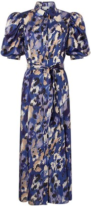 Monsoon Libby Animal Print Shirt Dress - Blue
