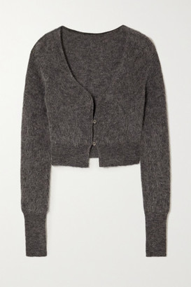 Jacquemus Alzou Cropped Mohair-blend Cardigan - Dark gray