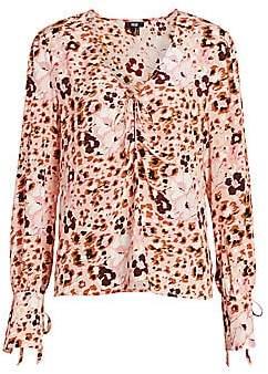 Paige Women's Giulana Leopard Print Silk Top