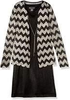 Jessica Howard Women's Petite Drape Jacket Dress with Necklace