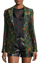 3.1 Phillip Lim Floral Jacquard Single-Button Blazer, Midnight