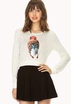 Forever 21 Kitten Print Sweater