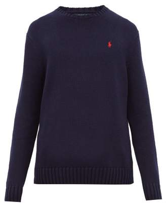 Polo Ralph Lauren Logo Embroidered Knitted Cotton Sweater - Mens - Navy