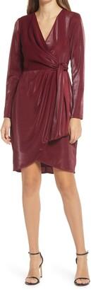 Julia Jordan Liquid Jersey Long Sleeve Faux Wrap Dress