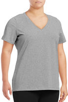 Lord & Taylor Plus Stretch Cotton V-Neck Tee