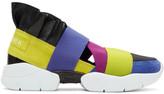 Emilio Pucci Yellow & Blue Colorblock 'New York' Ruffle Slip-On Sneakers