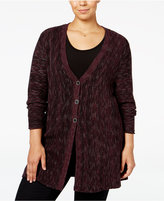 Style&Co. Style & Co. Plus Size Space-Dyed Flared Cardigan, Only at Macy's