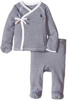 Ralph Lauren Yarn-Dyed Stripe Kimono Two-Piece Pants Set (Infant)