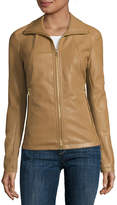 Liz Claiborne Wing-Collar Faux-Leather Coat