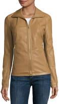 Liz Claiborne Wing-Collar Faux-Leather Coat