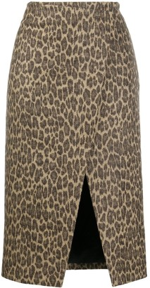Theory Leopard Print Wrap Skirt