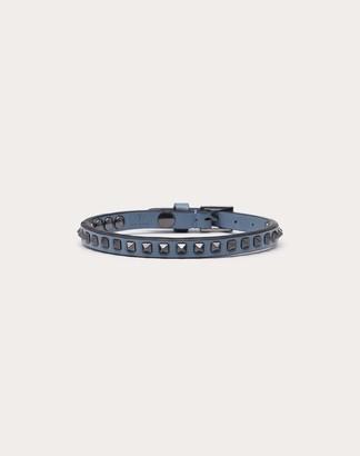Valentino Garavani Uomo Rockstud Bracelet Man Grey Calfskin 100% OneSize