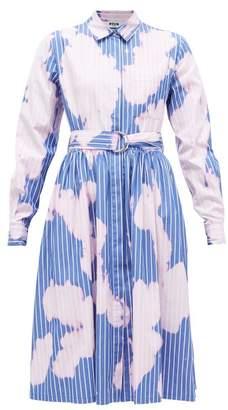MSGM Tie-dye Pinstriped Cotton Shirtdress - Womens - Pink