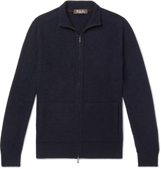 Loro Piana Melange Baby Cashmere And Silk-Blend Zip-Up Cardigan