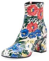 Balenciaga Paint Floral Zip 80mm Bootie, Multi