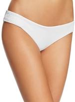 Tori Praver Solid Bethany Smocked Side Bikini Bottom