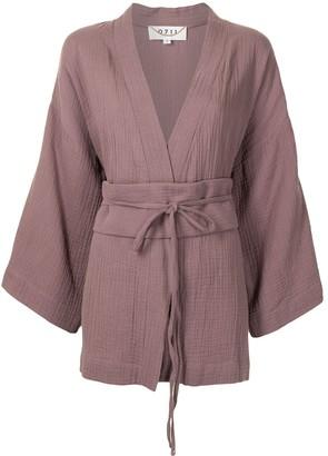 0711 Short Tied-Waist Kimono Blouse