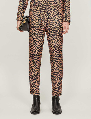 NEVER FULLY DRESSED Dynasty leopard-print high-rise stretch-woven trousers