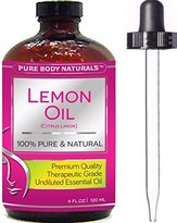 Pure Body Naturals Therapeutic Grade Undiluted Essential Lemon Oil, 4 fl. oz. (1 Pack) by Pure Body Naturals