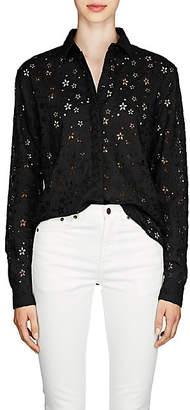 Saint Laurent Women's Floral Wool-Blend Eyelet Blouse - Black