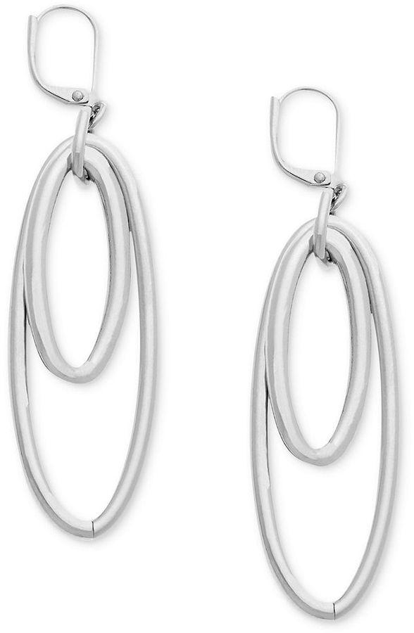 T Tahari Earrings, Silver-Tone Double Oval Drop Earrings