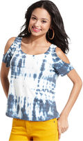 Speechless Juniors Top, Short-Sleeve Cutout-Shoulder Tie-Dye