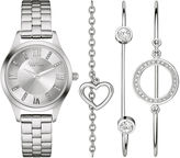 CARAVELLE, NEW YORK Caravelle New York Womens Crystal Heart Bangle Watch Set